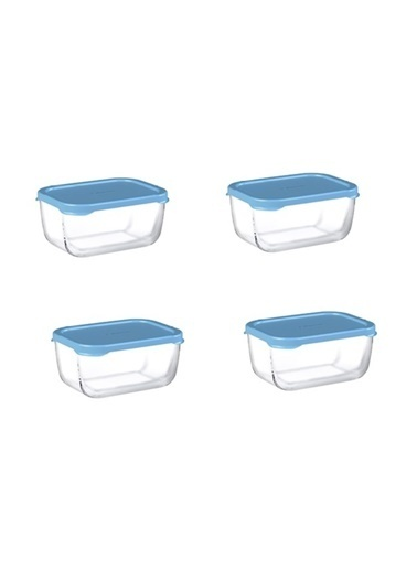Paşabahçe 53733 Snowbox 4 Lü Cam Saklama Kabı 420 Cc Mavi Mavi
